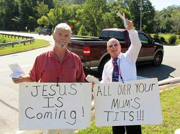35 Funny Pics Ya Gotta See ~ inappropriate protest signs Jesus is coming