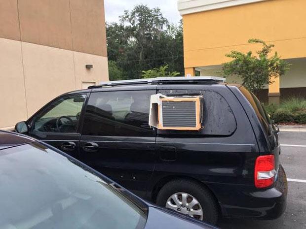 Random Humor : 35 Funny Pics and Memes ~ redneck engineering, air conditioning unit mini van car