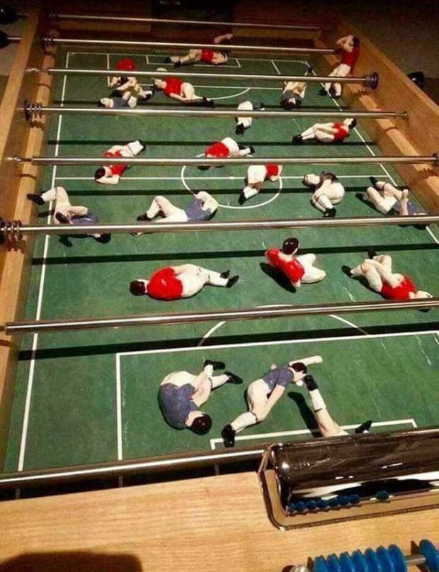 35 Funny Memes and Pics of Humor Galore ~ Foos ball players all hurt