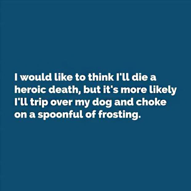 35 Funny Memes and Pics of Humor Galore ~ die a heroic death tripping over dog and choke on spoonful of frosting, inspirational quotes