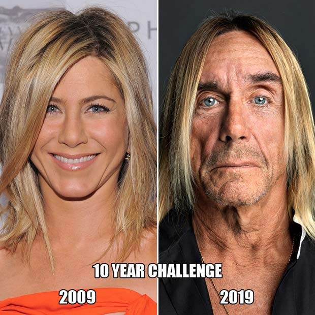 33 Best Memes and Funny Pics Laced with Humor! ~ 10 year challenge Jennifer unison Iggy pop