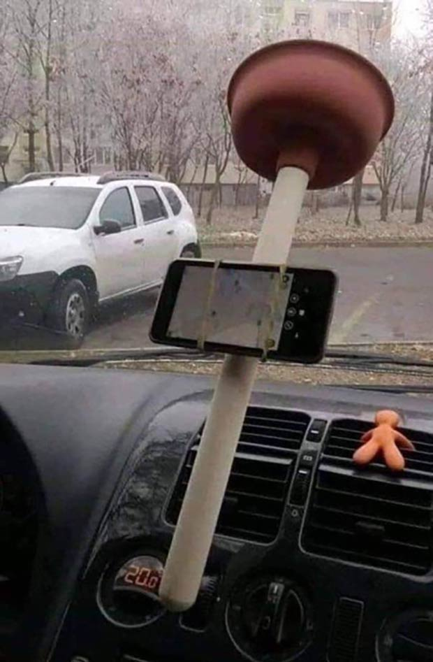 33 Best Memes and Funny Pics Laced with Humor! ~ redneck engineering plunger iPhone holder car