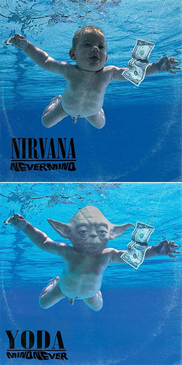 28 Star Wars ~ Classic Album Covers Mash-ups That ROCK! ~ Nirvana Nevermind Yoda
