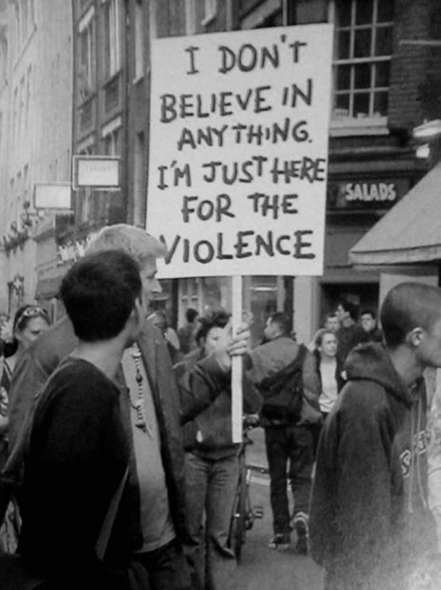 34 Funny Memes and Random Pics with Humous Convictions ~ funny protest sign troll here for the violence