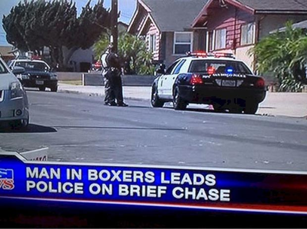 34 Funny Memes and Random Pics with Humous Convictions ~ stupid news fail pun man in boxer brief chase