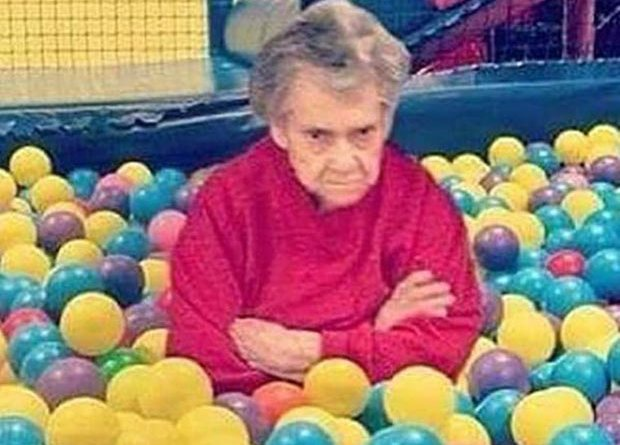 31 Funny Awkward Family Photos ~ sad mad grandma McDonald's ball pit