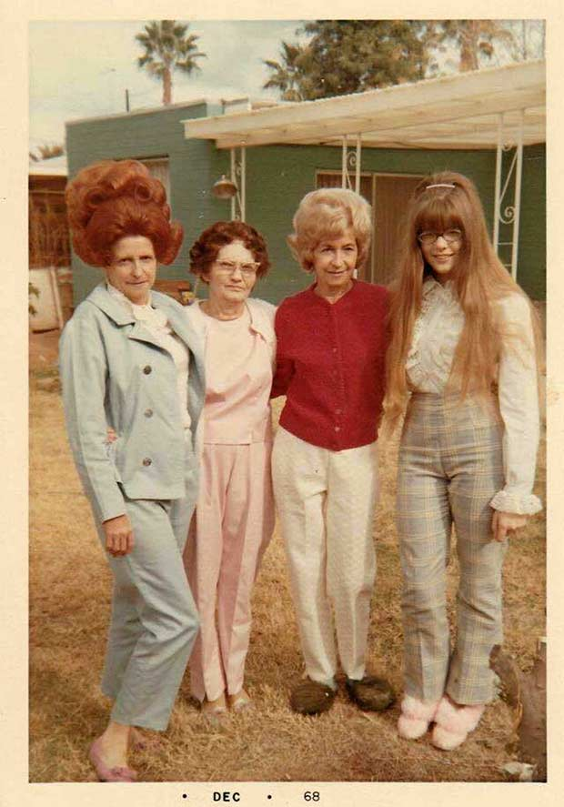 31 Funny Awkward Family Photos ~ generations women posing big hair 1960s 1968