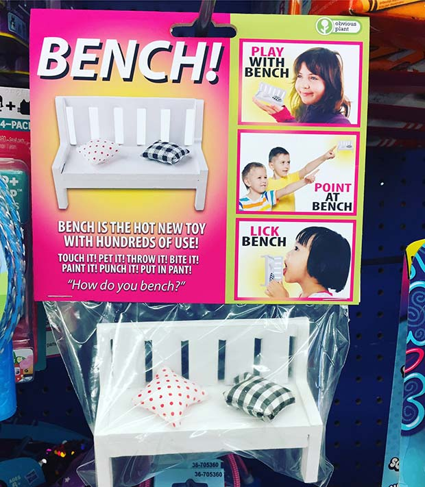 31 Hilarious Fake Toys Planted in Stores ~ bench
