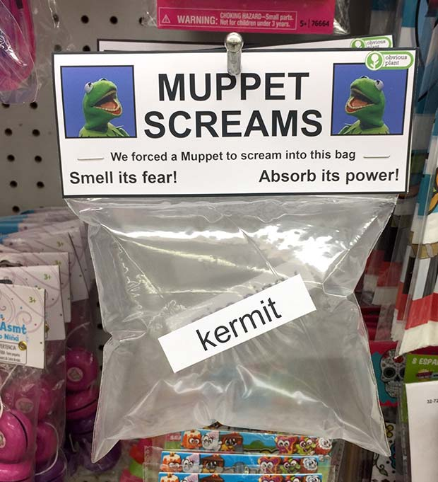 31 Hilarious Fake Toys Planted in Stores ~ muppet screams kermit