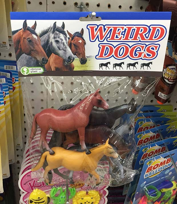31 Hilarious Fake Toys Planted in Stores ~ weird dogs