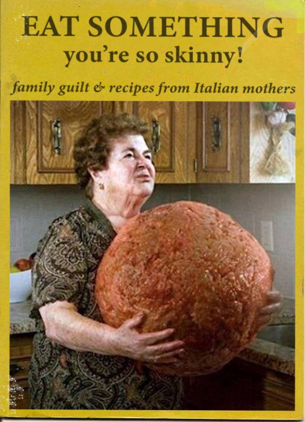 33 Funny Memes and Crazy Pics That'll Tickle Your Soul ~ vintage book magazine Italian recipes woman giant meatball eat something guilt sarcasm
