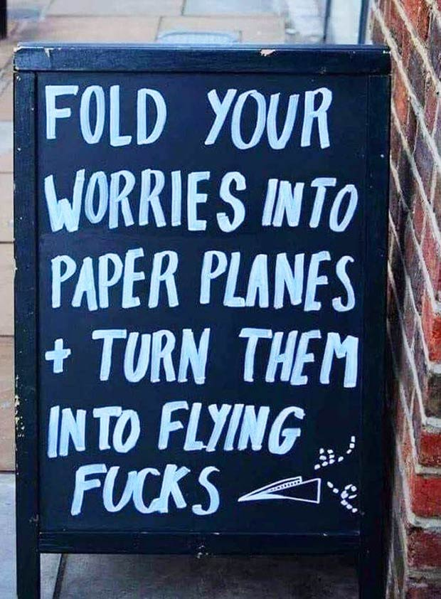 33 Funny Memes and Crazy Pics That'll Tickle Your Soul ~ sarcastic street sign paper airplanes flying fcks
