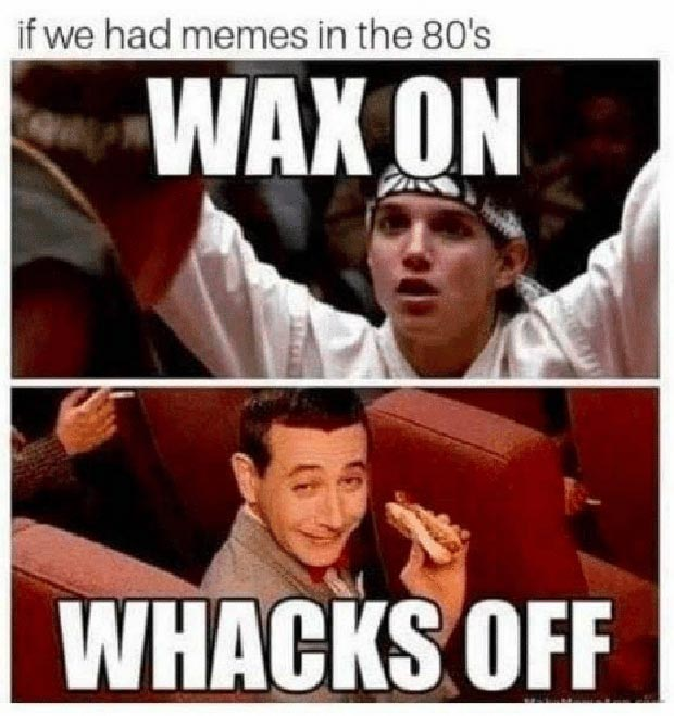 33 Funny Memes and Pics to Release Your Inner Humor ~ if we had memes in the 1980s, karate kid, pee wee Herman, wax on wacks off
