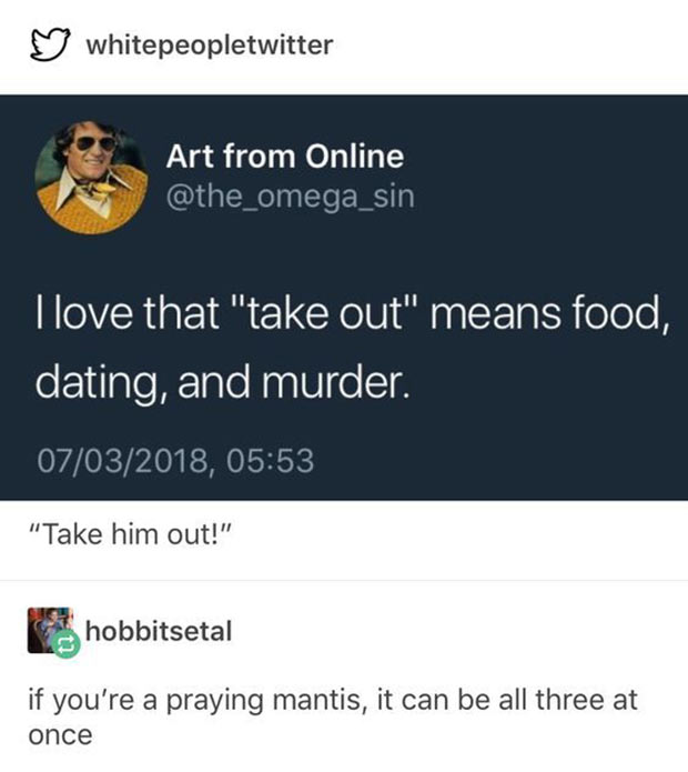 33 Funny Memes and Pics to Release Your Inner Humor ~ take-out means food, dating and murder, sarcasm