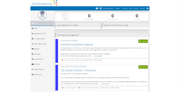 A Screenshot depicting how to log on on TryVolunteering