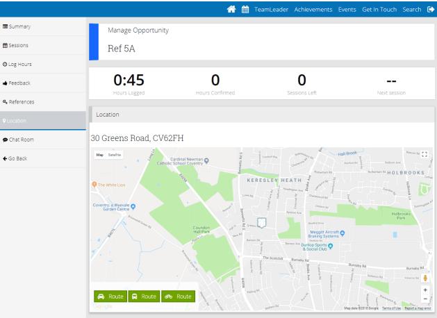 route screen shot