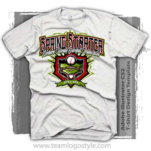 Spring baseball tournament t shirt in quick to modify format for Baseball shirt designs template