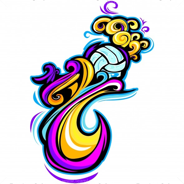 swirly volleyball shirt design vector clipart colorful design rh teamlogostyle com