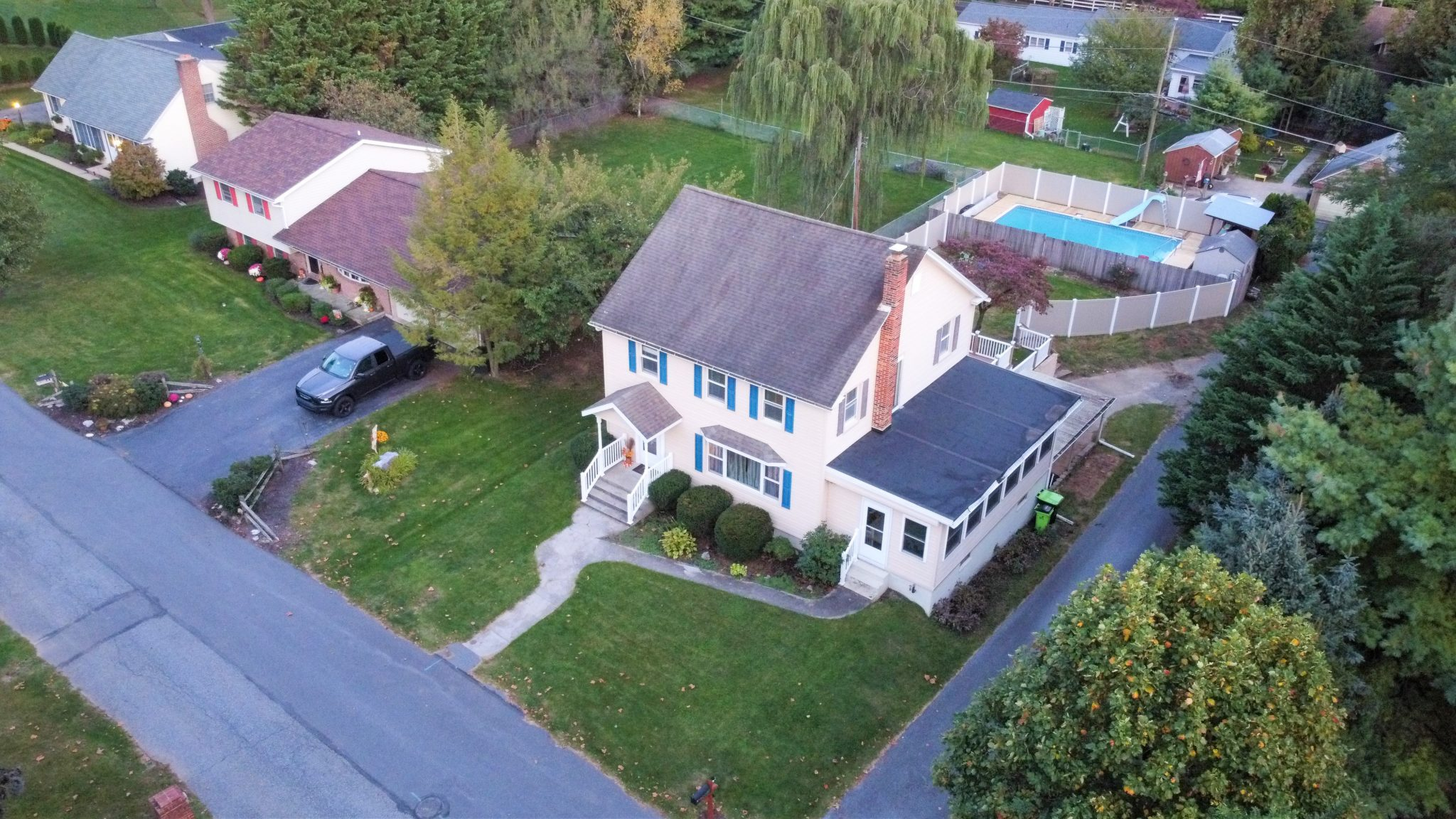 2022 Kline st - front overhead view of charming single family home