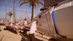 Final boat preparation before the Palma Euro Cup.