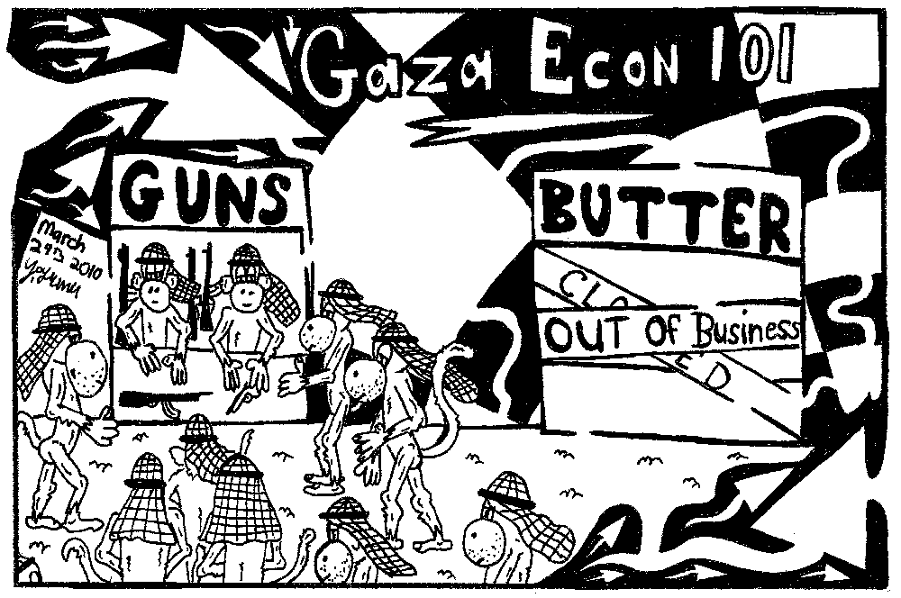 Editorial   maze cartoon of gaza guns and butter