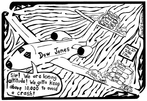 Dow Jones Airlines Maze Cartoon