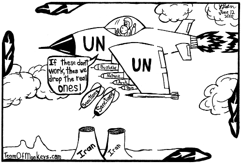 maze cartoon of Iran bombed by sanctions. By Yonatan Frimer