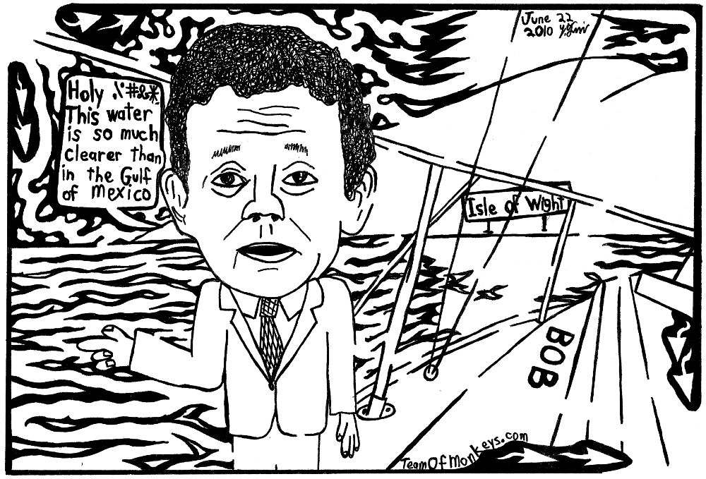 maze cartoon of Tony Hayward sailing bob