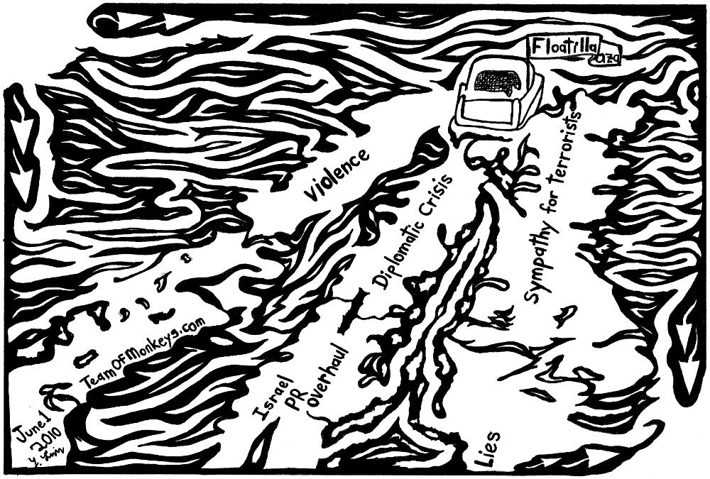 Maze cartoon of gaza flotilla by Yonatan Frimer