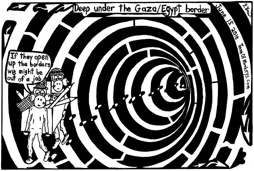 cartoon maze of psychedelic hamas smuggling tunnel, by Yonatan Frimer