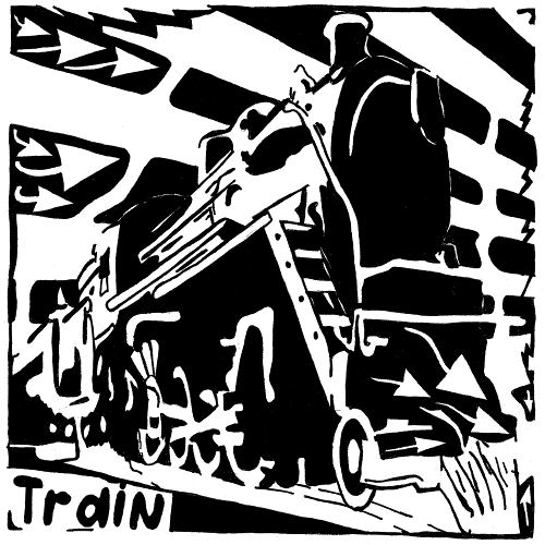 Maze of a train for the letter T
