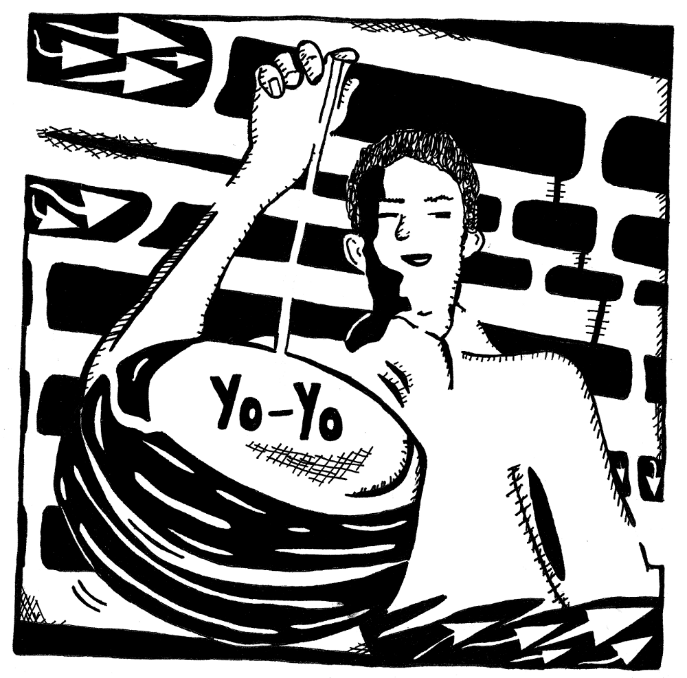 Maze of a guy with a yo yo for the letter y maze