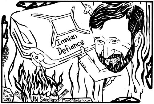 maze cartoon of Mahmoud Ahmadinejad throwing gasoline on the fire of UN Sanctions
