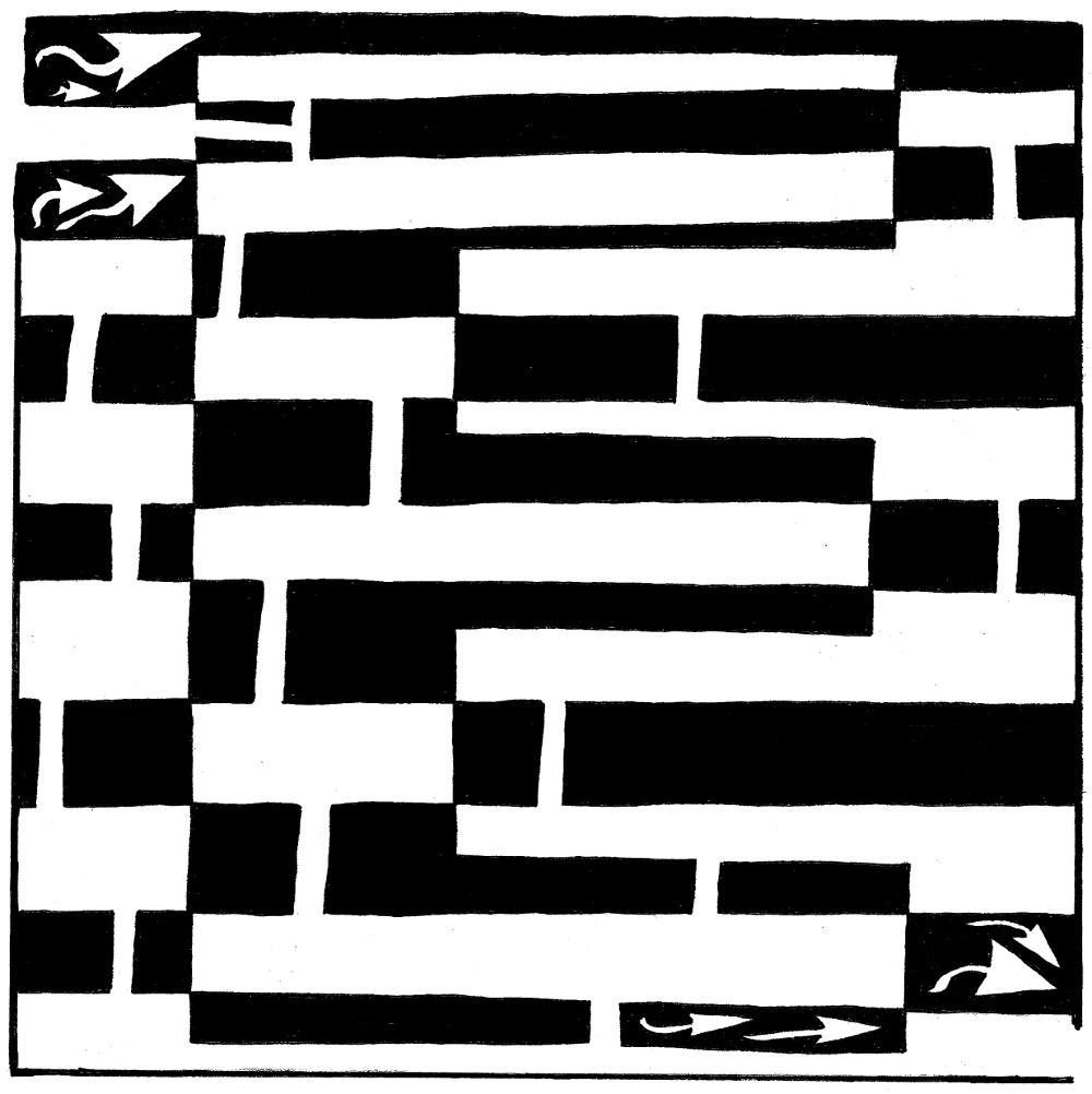 Yonatan Frimer maze of Uppercase E as in Elephant