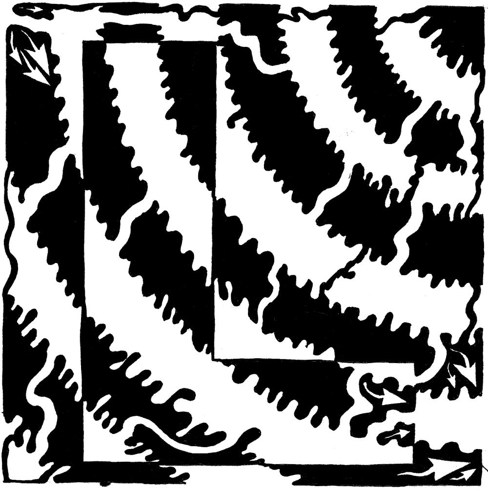 Maze of capital L - Yonatan Frimer Alphabet Maze