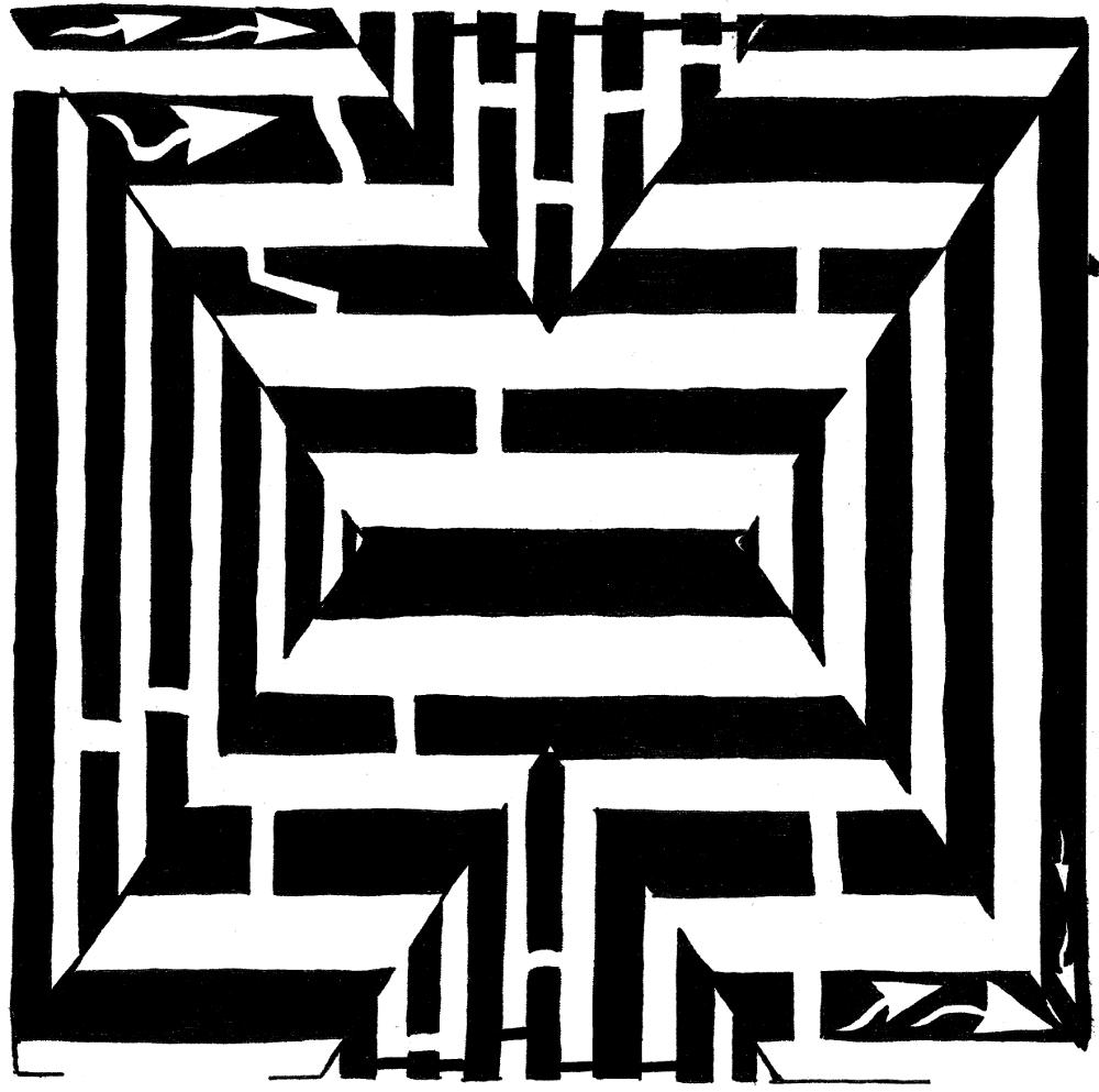 Letter X maze, twenty-fourth letter in the alphabet, upper-case