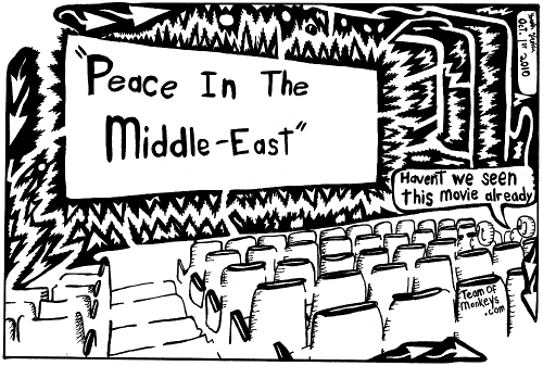 Maze cartoon of peace in the middle east movie rerun by Yonatan Frimer