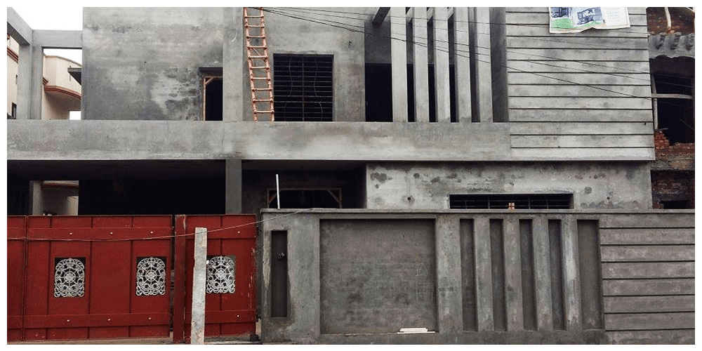 valencia town front elevation 1 kanal house grey structure construction companies in Pakistan
