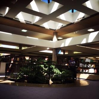 Library interior and carp pond