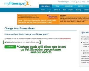 MyFitnessPal Custom P90X Goals
