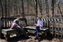 Die Kinder beim Ausfüllen des Junior Ranger Fragebogens
