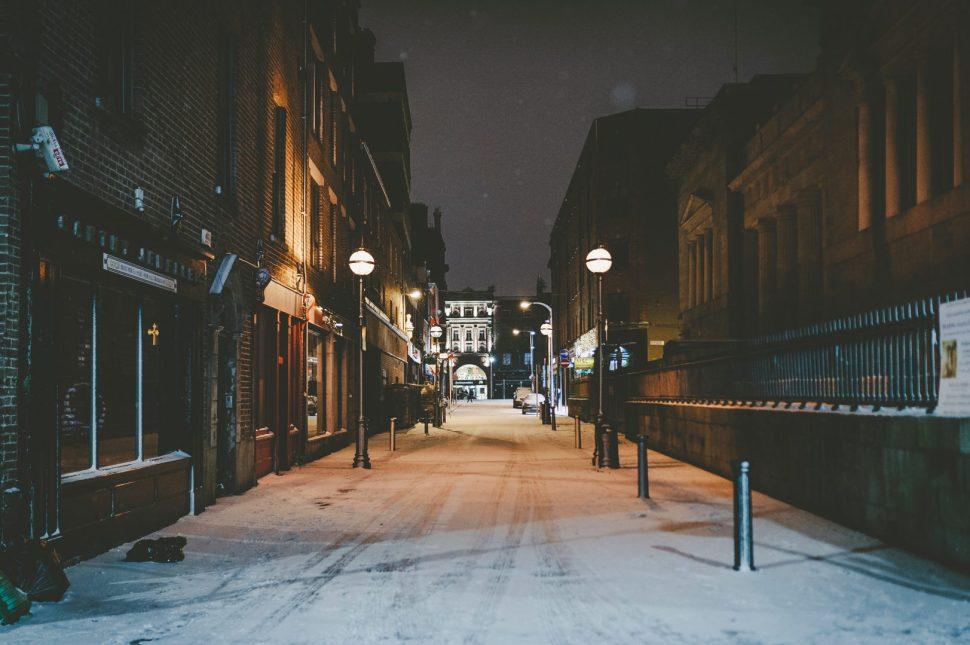 empty street between buildings