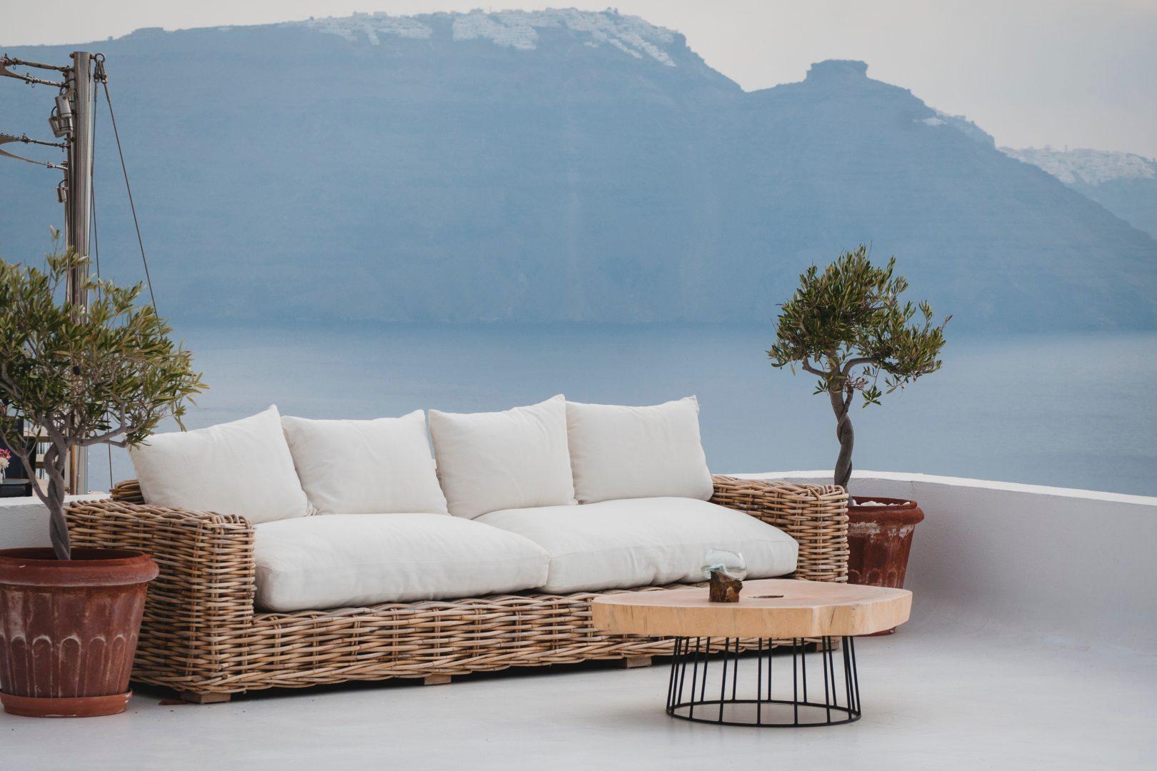 white and brown wicker futon