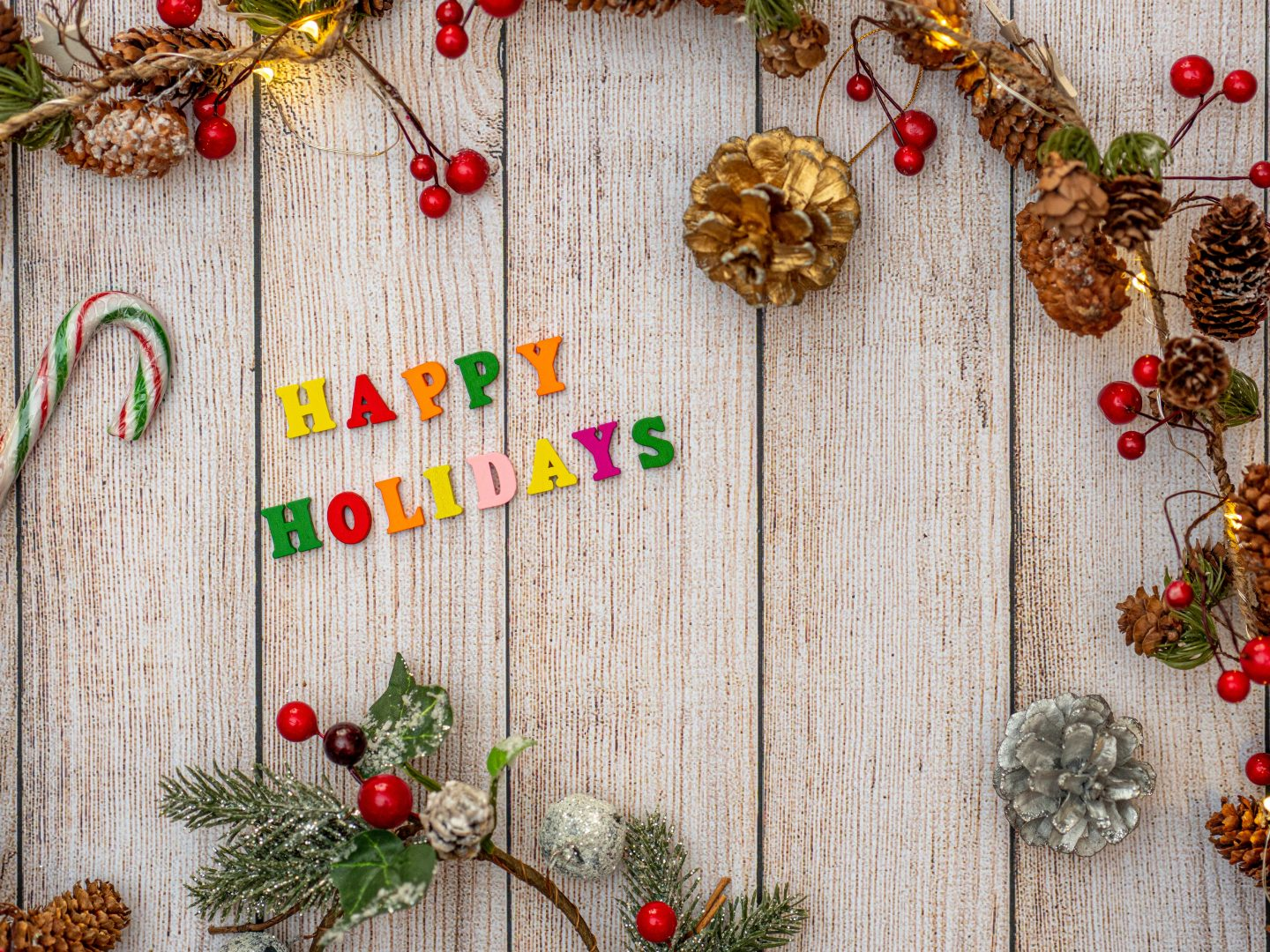 multicolored Happy Holidays wall ornament