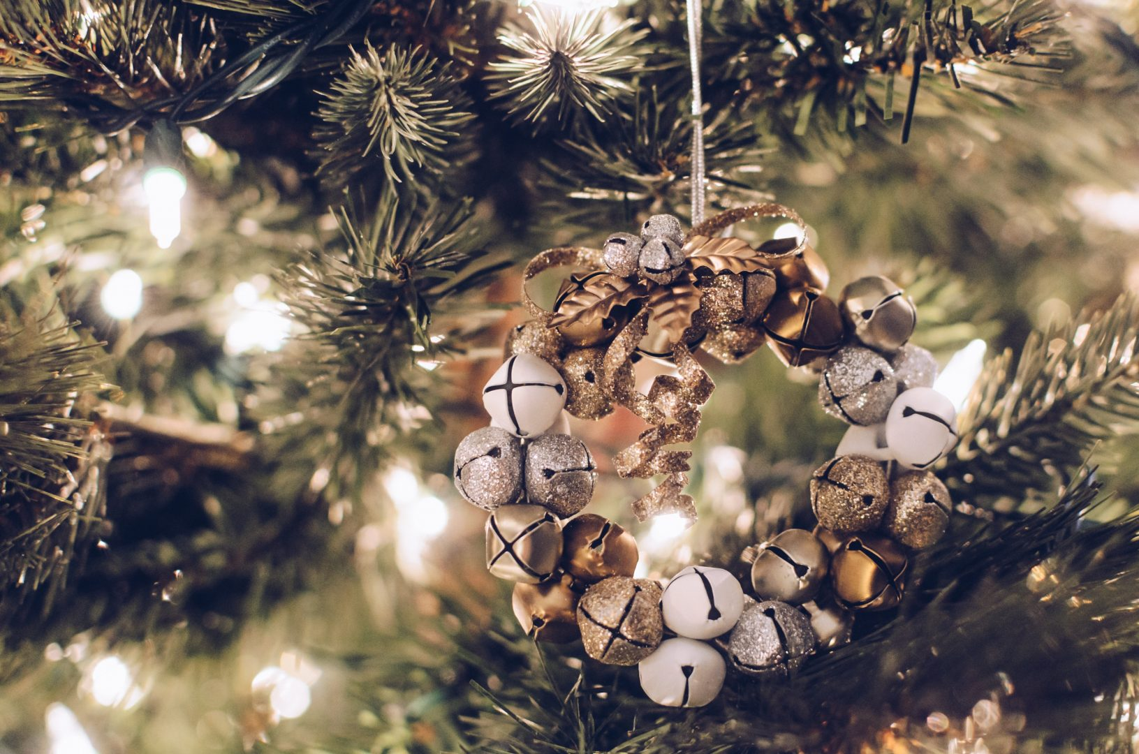 brown and brass-colored bauble hanging decor