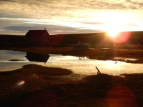 Midnight (or more like 3am sun) and the sauna reflected in the lagoon ponds.