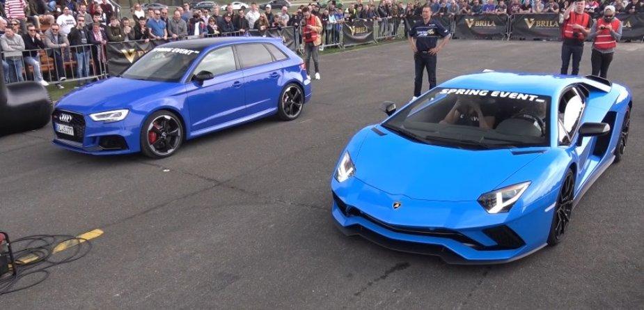Blue RS3 Beats Lamborghini