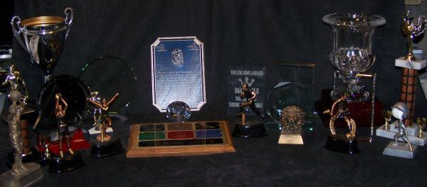 Sample with various awards-crystal, glass, marble, etc