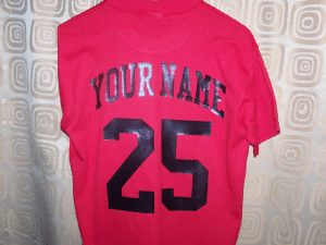 Red team uniforms jersery back view
