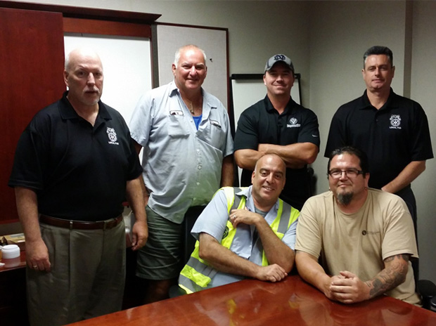 Local 710 Bolingbrook Drivers and Business Agents at the latest JLM meeting. From left to right: Business Agent Bernie Sherlock, Pat Keenan, Steward¬ Kevin Smyth, Business Agent Simon McNamara, Mike Donohue, Steward Dan Dougherty